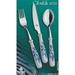 Cibulák príbor / balenie 4ks kartón -originálny cibulák, porcelánová časť - Český porcelán as Dubí, kovová časť - Toner as 1.jakost