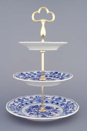 MIMORIADNA AKCIA -50% Cibulák cibulákový etažér trojdielny,taniere plné,pozlátená tyčka 35 cm cibulový porcelán, originálny porcelán Dubí,1. akosť