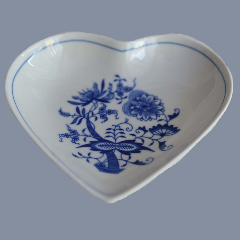 Cibulak misa srdce 16 cm cibulový porcelán, originálny cibulák Dubí 1. akosť