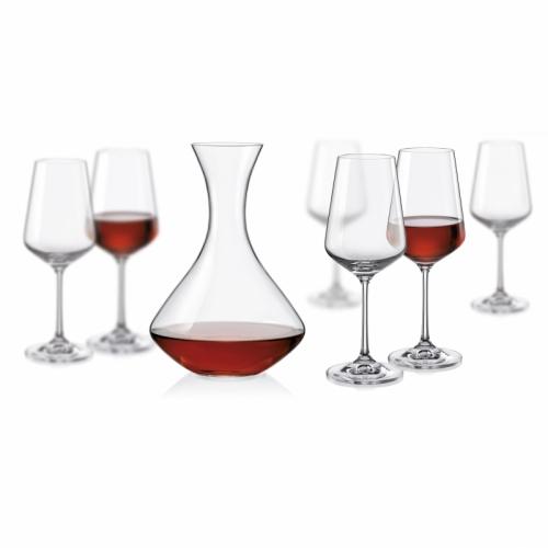 Set 6ks pohárov a 1ks fľaša na víno, Sandra Wine set 7ks Crystalex CZ