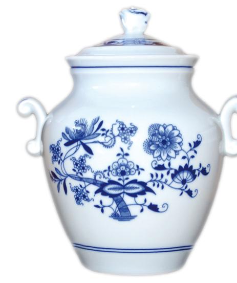 Cibulák dóza na masť s vekom 1,20l cibulový porcelán, originálny cibulák Dubí, 1. akosť