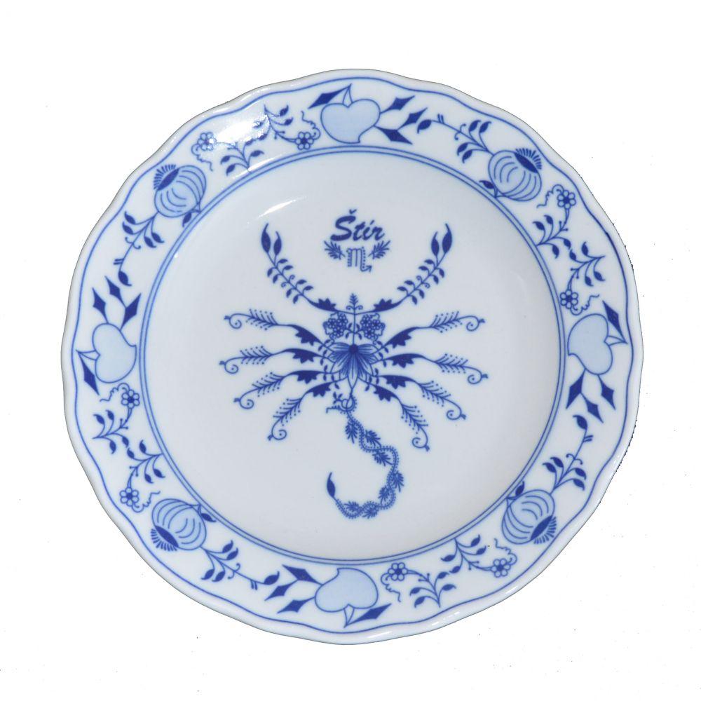 Cibulák tanier Štír zverokruh horoskop 24 cm cibulový porcelán, originálny cibulák Dubí 1. akosť